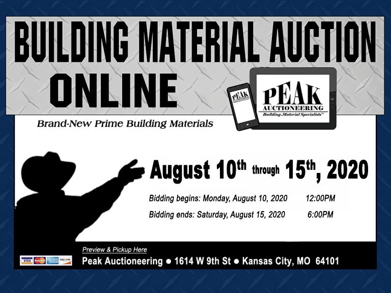 Kansas City Building Material Auction Online August 15 2020