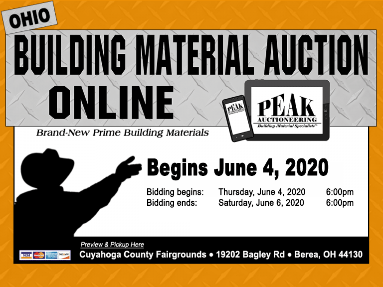 Peak Online Building Material Auction Berea Ohio June 4 5 6 2020